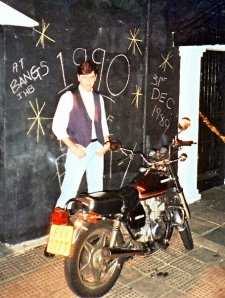 Andrew outside BANGS New Year 89/90